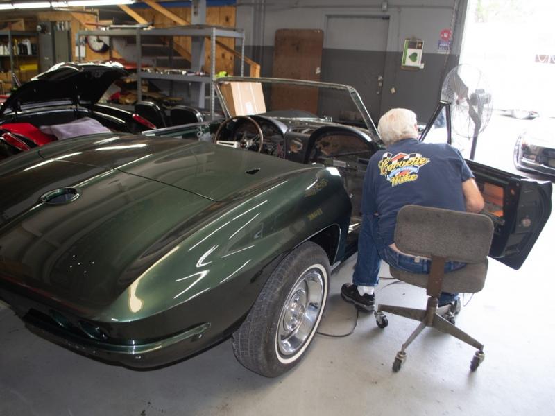 1967 green convertible restoration 12