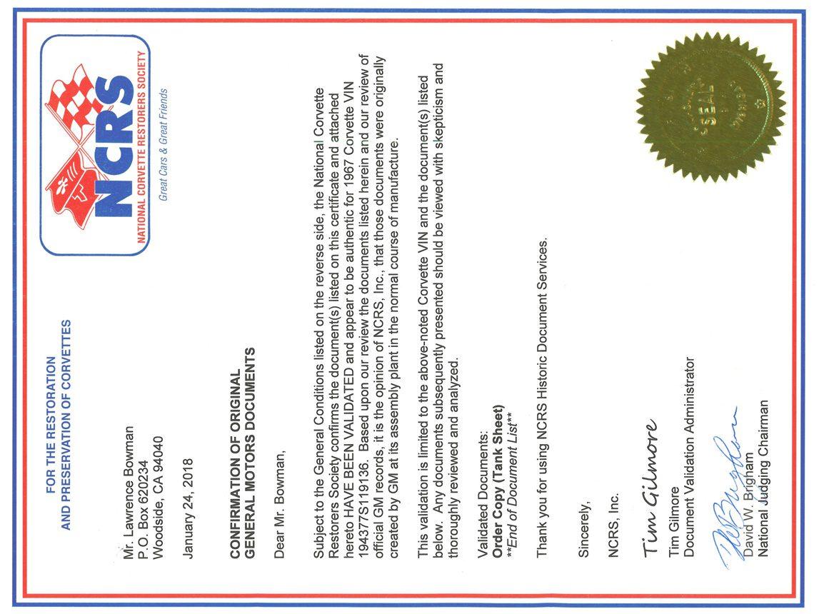 1967 yellow corvette l88 document confirmation