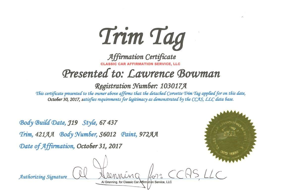 1967 yellow corvette l88 trim tag certificate