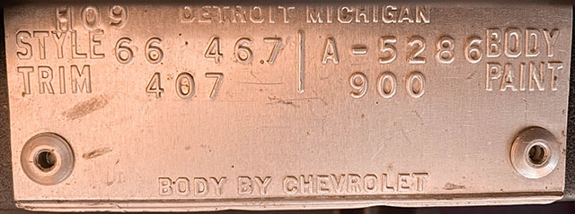 1966 black corvette l36 convertible trim tag