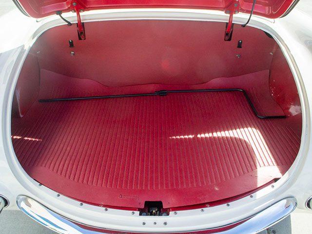 1955 white corvette v8 trunk