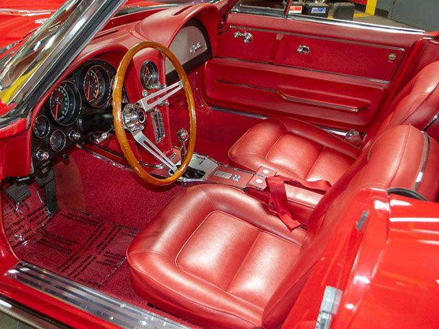 1965 red 396 425 corvette convertible interior