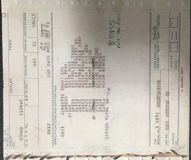 1963 blue corvette split window coupe dealer invoice