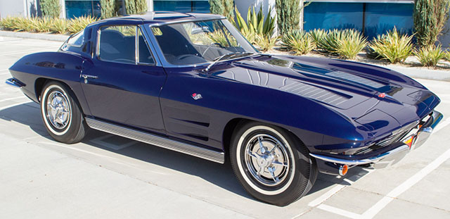 1963 blue corvette split window coupe exterior