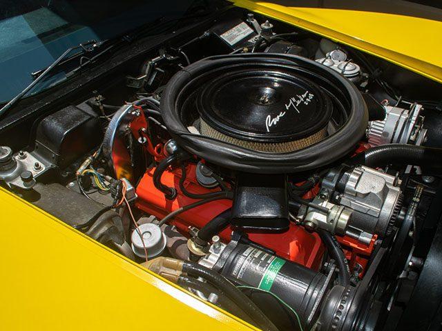 1975 l48 yellow corvette convertible automatic engine