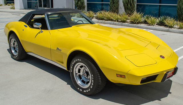 1975 l48 yellow corvette convertible automatic exterior