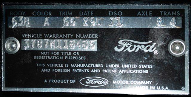 1963 black thunderbird coupe data plate