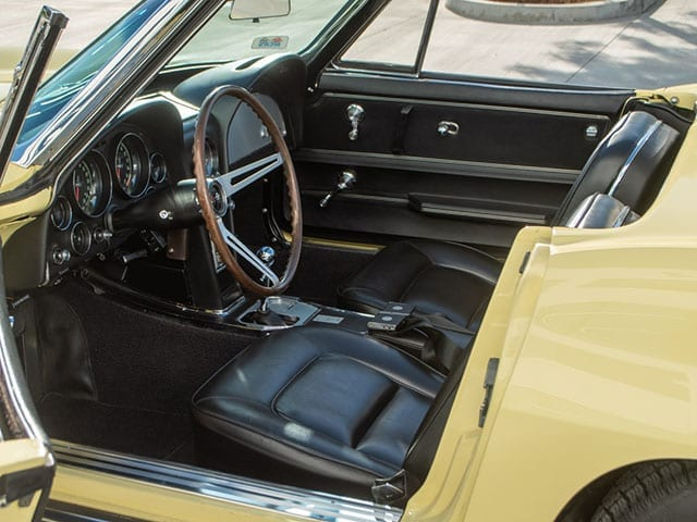 1965 yellow corvette convertible interior 1