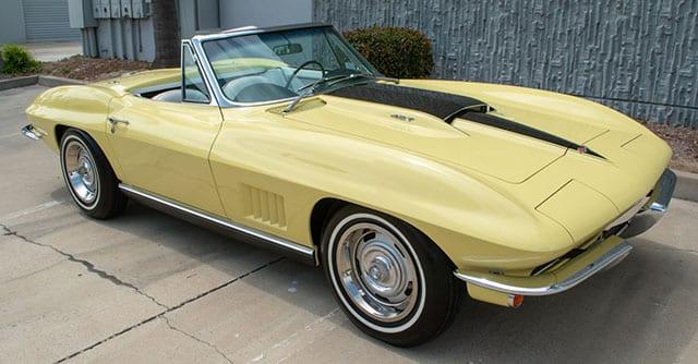 1967 sunfire yellow corvette l68 convertible exterior